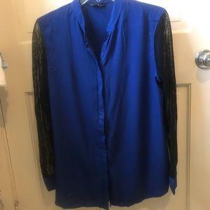 Cerulean blue, mesh sleeved top